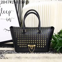 Wholesale Business Stud - Luxury real leather Totes Women Business casual bags original hardware studs Italy top process 26cm wide excellent boutique bags
