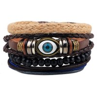 Wholesale Leather Braided Evil Eye Bracelets - Mens Evil Eye Most Popular Bracelets Leather Braided Style with Black Round Beaded Hand Ropes for Sale LB006