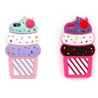 Wholesale Ice Cream Case For Iphone - For Iphone 7 6 6s Plus Samsung Galaxy S7 S6 edge Huawei 3D Cartoon Silicone Case Cherry Ice Cream Back Cover OPPBAG