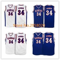 Wholesale Ku Jayhawks - Cheap custom #34 Paul Pierce Kansas Jayhawks KU College Basketball Jersey White Blue Embroidery Stitched Custom any Number and name Jerseys