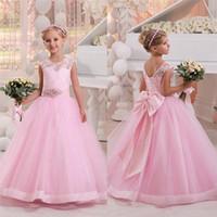 Wholesale Embroidery Aline Wedding Dress - 2017 Simple Flower Girls Dresses For Weddings Cap Sleeves Satin Floor Length Custom Made Aline First Communion Dresses For Girls