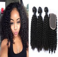 Wholesale Mongolian Kinky Curl Closure - 8A Mongolian Africa Kinky Curl Hair Extensions with top lace closure Afro Kinky Curly Virgin Human Hair Weave Natural Black 3bundle