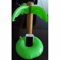 сотовый телефон держателя чашки оптовых-Wholesale-12 Pcs Palm Trees Floating Inflatable Drink Can Holder for Cola Cup/Cell Phone/Remote Controller Summer Pool Swim Toy