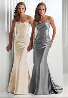 Wholesale Strapless Little Bride Dresses - New On Sale Mermaid Bridesmaid Dresses 2017 Long Silver Gray Vestido Madrinha Vestido Longo Wholesale Corset Brides Maid Cheap