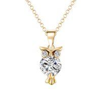Wholesale Singapore Diamonds - 2017 NEW fashion women rhinestone necklace pendants owl crystal necklace hip hop jewelry