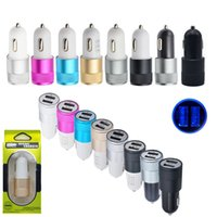Wholesale Iphone Car Chargers Colors - 9 Colors Universal Car 12V To 5V 2Port USB Charger Adapter For Smart phone GPS Free Shipping&Wholesales