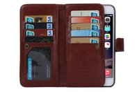 Wholesale Galaxy Note Case 5pcs - 2in1 Magnetic Detachable 9 Card Wallet Leather Case for iphone 6 plus iphone 7 plus Galaxy s7 edge s6 edge plus note 4 note 5 1-5pcs lot