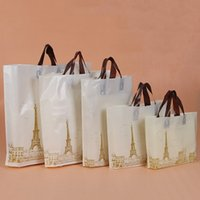 Wholesale Eiffel Shopping Bag - Plastic Bags with Handle Eiffel Tower Shopping Bags For Christmas Wedding Birthday Party Gift Candy Jewlery Packing Bags