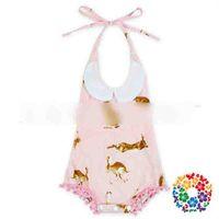 Wholesale Wholesale Pink Onesie - 2017 New Summer Kids Clothing Bodysuit Romper Rabbit Printed Ball Tassel Baby Onesie Cute Children Jumpsuits Pink Girl One-piece A6256