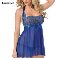 Wholesale Lace See Through Dress Lingerie - Wholesale- High Quality Women's Sleep See-through Lace Flowers Bowknot Spaghetti Strap Night Dress Sexy Lingerie Sleepdress Nightgown Q5764