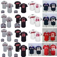 Wholesale Indian Series - Cleveland Indians 12 Francisco Lindor 24 Andrew Miller 22 Jason Kipnis 28 Corey Kluber 99 Ricky Vaughn Baseball World Series Baseball Jersey