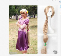 Wholesale Tangle Free Lace Wigs - Free shipping Quality Fashion Picture full lace High wigs>>100cm Princess Tangled Rapunzel long Braid blonde cosplay For Women wig