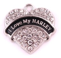 Wholesale Crystal Studded - 10PCS LOT rhodium plated zinc studded with sparkling crystals I LOVE MY HARLEY heart pendant