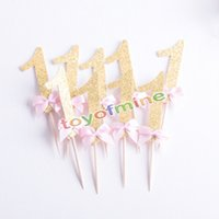 Wholesale pink baby shower cupcakes resale online - Gold glitter pink number cupcake topper st birthday number Cake cupcake topper Baby Shower Party Decoration supplies