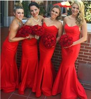 Wholesale Special Offers Dresses - Special offer Bridesmaid Dresses 2016 Simple Elegant Sweetheart Mermaid Red Wedding Party Dress Festas longo casamento robe