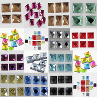 Wholesale 14 mm square hot drilling Crystal beads scattered glass drill a drill of mobile phone accessory Free Gift