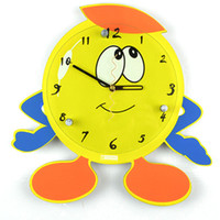 Wholesale Decorative Cartoon Design - Large Cartoon Wall Clock Yellow Smile Face Modern Design Digital Clocks For Children Home Decorative Large Round Wall Clock
