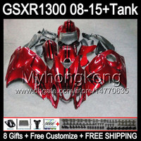 Wholesale Hayabusa Red - Gloss red 8gifts For SUZUKI Hayabusa GSXR1300 2008 2009 2010 2011 14HM1 GSXR-1300 GSX R1300 GSXR 1300 2012 2013 2014 2015 Fairing dark red