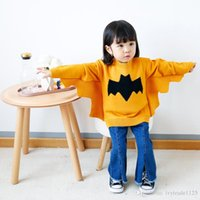 Wholesale Bat Wing Sweaters - ins new arrivals baby girl bat-wing sleeve pullover sweater 100% cotton warm baby kids fall sweater 2 colors