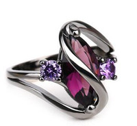 Wholesale 18k Gold Plated Amethyst Ring - New Arrival Top quality Black Gold Plated personality Sapphire Ring for women set with flash Stones