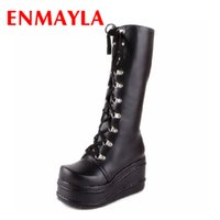 Wholesale Gothic Wedges - Wholesale- ENMAYLA Women Boots New Gothic Punk Shoes Cosplay Boots Knee High Heel Platform Sexy Zip Winter Wedges Knee High Boots