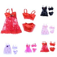 Wholesale Girls Sexy Night Dress - Sexy swimwear Lace Night dress For Barbie Doll Pajamas Lingerie clothes Dolls Accessories 1 Set=3pcs( Dress + Bra + Underwear )