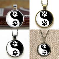 colar dos amantes de yin yang venda por atacado-10 pcs pet amante Yin Yang Pata Pingente amante animal Colar chaveiro marcador brinco brinco
