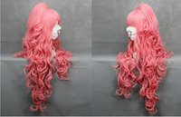 Wholesale Wig Vocaloid Curly - Freeshipping heat resistant kinky havana african american woman >>Long Fashion Party Women Girl Cosplay Vocaloid Luka Pink Hair Curly Wigs