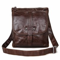 Totes organic manufacturers - Vintage Genuine Leather Chocolate Men Messenger Bags Shoulder Bag Purse HOBO JMD Handbags Direct Manufacturer