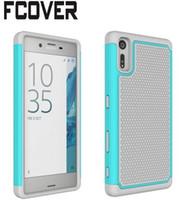 Wholesale E5 Phones - Hybrid rough football 2 in 1 Hard PC Soft phone silicon back Cover For Sony Xperia XZ Premium XZs XA1 Ultra L1 E5 Case