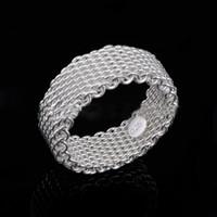 silber mesh 925 ringe großhandel-925 Sterling Silber Ring Weave Mesh Finger Ring Band ring für Frauen Mode Hochzeit Schmuck Geschenk Drop Shipping