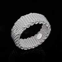 925 Sterling Silver Ring Weave Mesh Finger Ring Band Ring para Mulheres Moda Wedding Jewelry Gift Drop Shipping