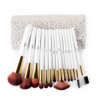 Wholesale Make Up Cosmetic Brush Set - 15pcs High Quality Makeup Brushes Set Soft Synthetic Hair Cosmetic Tool make up brushes set PU Leather Case For Fashion Beauty Maquillage To