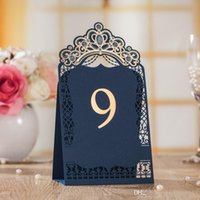 Wholesale Table Cards For Weddings - 10pcs Luxury Navy Blue Elegant Guest Place Cards for Wedding Day Laser Cut Table Card for Party Seat Card Event Party Supplies