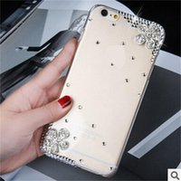 Wholesale Diamond Case For Blackberry - Hot Cherry Rhinestone Phone Case for Samsung Galaxy S8 iPhone 7 Plus LG V20 Cute Bling Diamond Flower Hard Phone cover