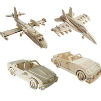 Wholesale Wooden Military Toys - Wholesale- New fancy Intelligent educational toy 3D plane model wooden puzzles handmade Beaver Airplane wood car aircraft plane puzzle