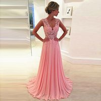 Wholesale Dressy Dress Size 12 - Dressy New Star Cheap Evening Dresses 2017 Long New Charming V-Neck Floor Length Chiffon with Top Lace party Occasion Dresses