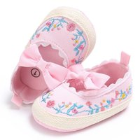 Wholesale Wholesale Vintage Baby Shoes - Wholesale- Kids Girls Vintage Princess Shoes Spring Fashion Embroidery Bowknot Casual Baby Anti-skid Shoes