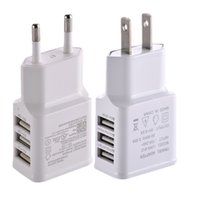 Wholesale Wall Charger For Mp3 Player - 100pcs white 3 usb ports EU US ac home wall charger power adapter for iphone 6 7 8 Samsung galaxy s6 s7 edge android phone mp3 player