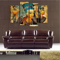 ingrosso arte di parete egiziana-Faraone egiziano Retro Style Pittura 4 Pezzi HD Stampa Figures Pittura su Tela Modern Wall Art Picture Decorazione Della Casa