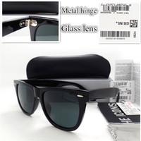 Wholesale hinged glass box - AAAA+ quality Glass lens Metal hinge Brand Designer Fashion Women Men Plank frame Sunglasses UV400 Sport Vintage Sun glasses With box