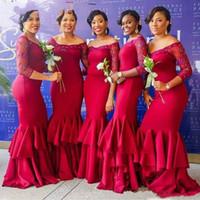 zarif zemin uzunluğu nedime elbiseli kolları toptan satış-3/4 Uzun Kollu Gelinlik Modelleri Kapalı Omuz Boncuklu Mermaid Katmanlı Düğün Konuk Elbiseler Zarif Saten Kat Uzunluk Bridesmiads Elbiseler