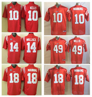 Wholesale Black Rebel - Men Jersey 10 Eli Manning 18 Peyton Manning 14 Bo Wallace 49 Patrick Willis Ole Miss Rebels Mens College Football Jerseys