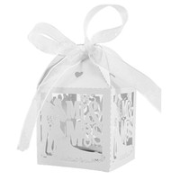 Gros-Blanc 50pcs / Lot M. Mme Wedding Candy Box Bonbons Cadeaux Caisses De Fête Avec Ruban Party Event Decoration Supplies