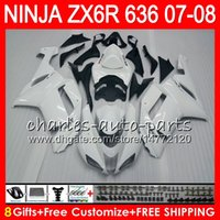 8Gifts 23Colors Bodywork para KAWASAKI NINJA ZX636 ZX6R 07 08 600CC 26HM2 ZX 636 branco brilhante ZX 6R 07-08 ZX-636 ZX-6R 2007 2008 Kit de carenagem