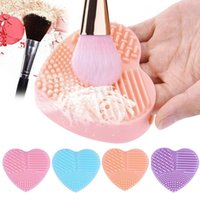 Wholesale Gloves Light Purple - 2017 new Creative Lovely Make Up Washing Glove Cosmetic Cleaner Scrubber Brush Board Makeup Tools candy color
