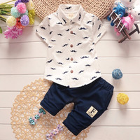Wholesale Gentleman Style Boy Clothes - 2017 Summer Baby Boys Clothes Suits Gentleman Style Kids Lovely beard Lapel Shirt+Pants 2 Pcs Infant Casual Suits Children Sets