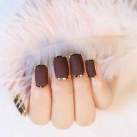 Wholesale Noble Design Nails - Wholesale-1 set=24pcs Matte Chocolate Color Fake Nail Tips Noble Gold Line Nail Art Design Artificial Fingernails False Nails Z137