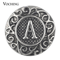 Wholesale Vintage Black Jewelry - Noosa Ginger Snaps Vintage 26 English Letters Metal Snap Button Interchangeable Jewelry Accessory Vn-411