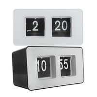 Wholesale Nice Wall Designs - Wholesale-New Arrival Best Price High Quality Design Simple Modern Unique Retro Concise Simple Cube Nice Desk Wall Auto Flip Clock